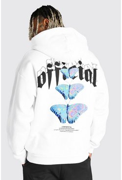 White Oversized Official Butterfly Back Print Hoodie