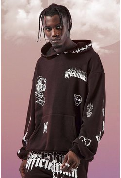 Black Oversized Multi Print Hoodie