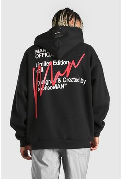 Black Oversized MAN Official Back Print Hoodie