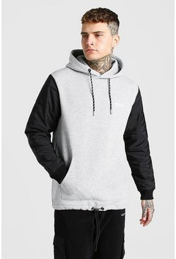 Grey marl MAN Official Hoodie With Puffer Sleeve