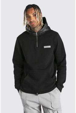 Black Hoodie With Puffer Zip Hood and Drawcord Hem