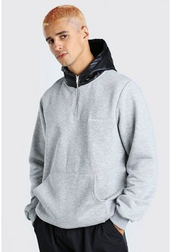 Grey marl Hoodie With Puffer Zip Hood and Drawcord Hem