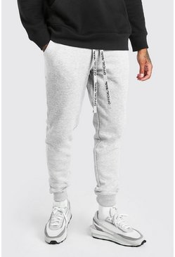 Grey marl Skinny Fit Jogger With MAN Drawcords