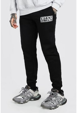 MAN Regular Fit Jogginghosen mit Money-Motiv, Schwarz