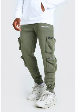 Khaki Official MAN Deep Cuff 3D Pocket Cargo Jogger