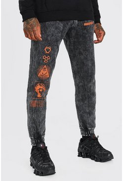 Charcoal MAN Official Regular Fit Acid Wash Jogger
