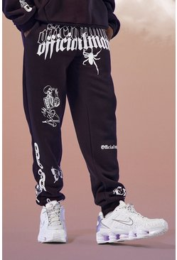 Black Official MAN Graphic Printed Jogger