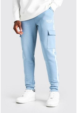 Blue Skinny Fit Cargo Jogger With MAN Tape