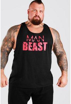 Black MAN Active X Beast Front Print Active Racer Vest