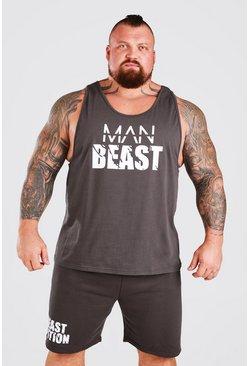 Charcoal MAN Active X Beast Front Print Racer Vest