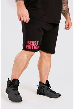 Short mi-long à imprimé Beast MAN Active X, Noir