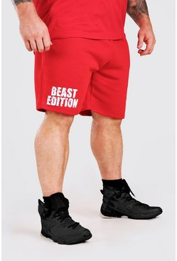 Red MAN Active X Beast Print Mid Length Shorts