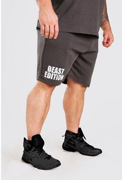 Short mi-long à imprimé Beast MAN Active X, Anthracite :