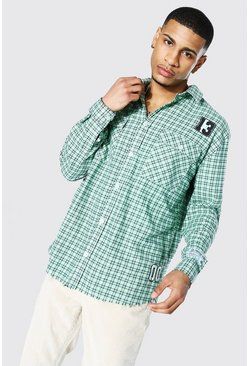 Oversized Varsity Check Shirt With Badges, Lime