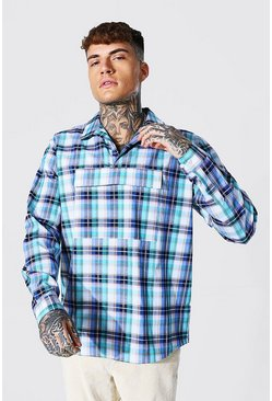 Multi Half Zip Check Overshirt With Front Pocket