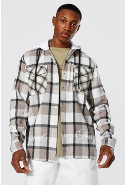 Taupe Check Hooded Overshirt