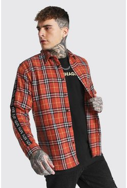 Orange Man Side Tape Check Shirt Overshirt