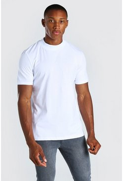White Crew Neck T-Shirt With Extended Neck