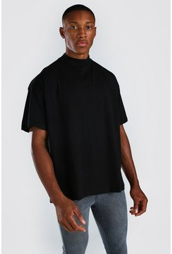 Black Oversized Crew Neck T-Shirt With Extended Neck