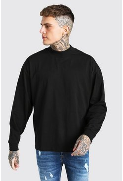 Black Oversized Long Sleeve T-Shirt With Extended Neck
