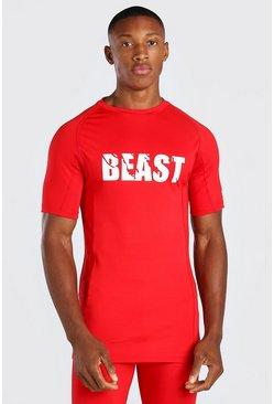 Red MAN Active X Beast Print Compression T-Shirt