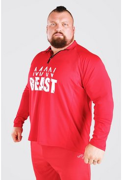 Red MAN Active X Beast Front Print Funnel Neck