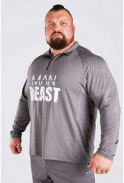 Charcoal MAN Active X Beast Front Print Funnel Neck