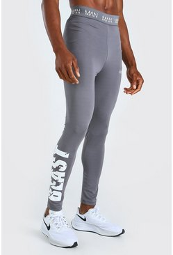 Charcoal MAN Active X Beast Tights With Print Detail