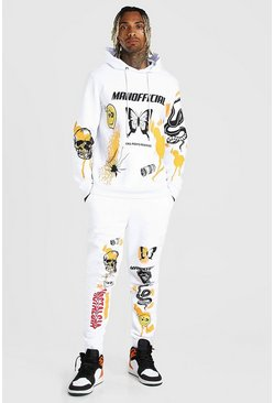 White Oversized MAN Spray Print Tracksuit