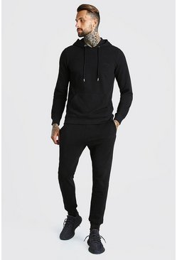 Black Pique Man Signature Hooded Tracksuit