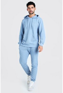 Dusty blue Pique Man Signature Hooded Tracksuit