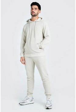 Stone Pique Man Signature Hooded Tracksuit