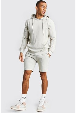 Stone Pique Hooded Short Tracksuit