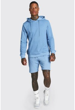 Dusty blue Pique Hooded Short Tracksuit