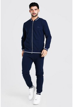 Navy Pique MAN Bomber Tracksuit With Contrast Rib