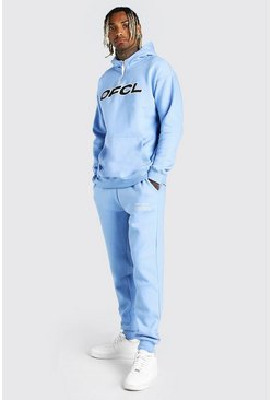 Blue Loose Fit Official Print Snood Hooded Tracksuit