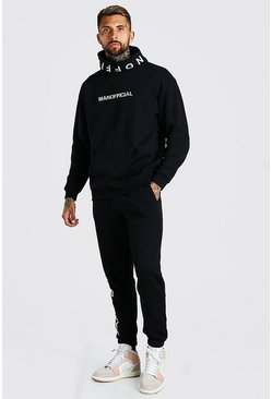 Black MAN Official Embroidered Snood Hooded Tracksuit
