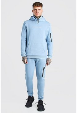 Blue Official MAN MA1 Snood Hooded Tracksuit