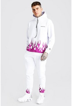 White MAN Official Flame Print Snood Hooded Tracksuit