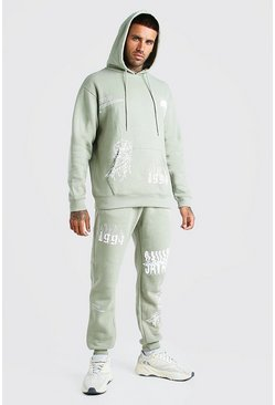 Sage Loose Fit Official MAN Graffiti Hooded Tracksuit