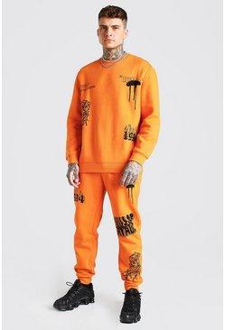 Orange Loose Fit Official MAN Graffiti Sweater Tracksuit