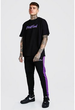 Black MAN Back Print T-Shirt And Tricot Jogger Set