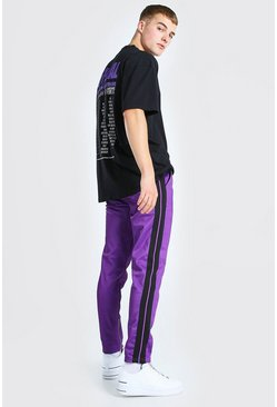 Black MAN Worldwide Print T-Shirt And Tricot Jogger Set