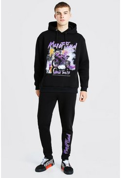 Black Oversized MAN Official Graphic Print Tracksuit