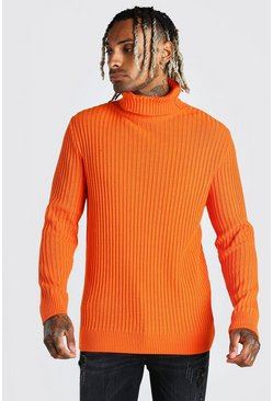 Orange Balaclava Roll Neck Knitted Jumper