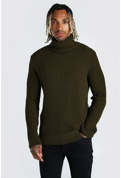 Khaki Balaclava Roll Neck Knitted Jumper