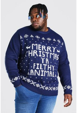 "Big And Tall Weihnachtspullover mit ""Ya Filthy Animal""-Motiv, Marineblau"