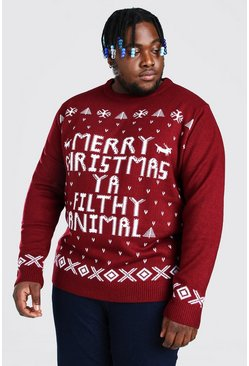 Wine Plus Size Ya Filthy Animal Christmas Jumper