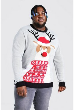 Grey Plus Size Reindeer Santa Hat Christmas Jumper