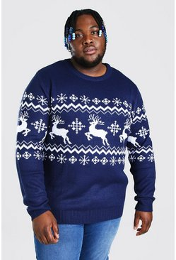 Navy Plus Size Reindeer Panel Christmas Jumper